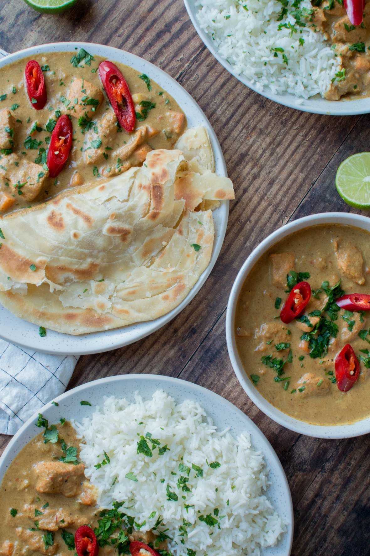 East African Style Chicken Curry With Parathas & Rice - Kay's Kitchen
