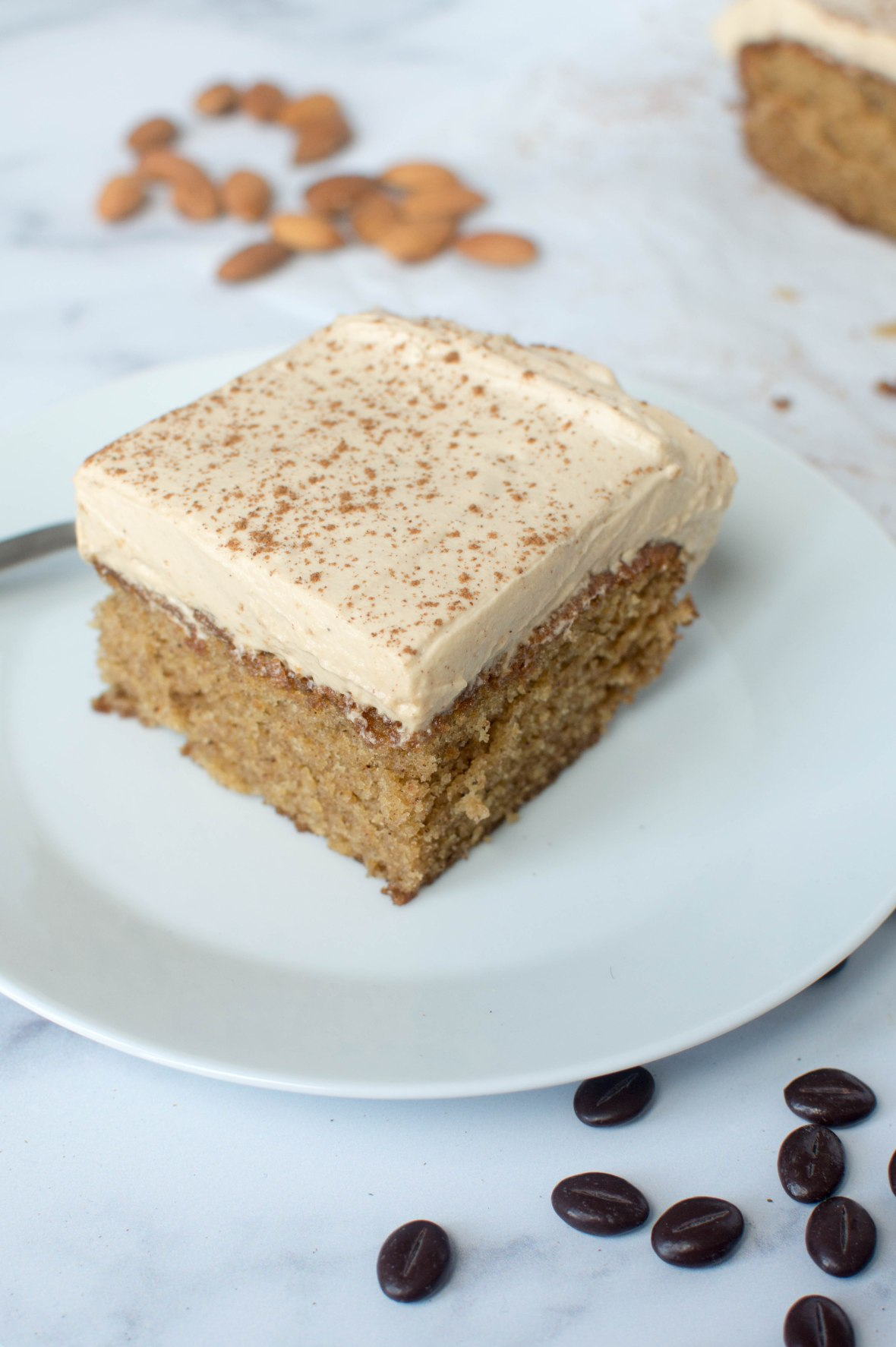 Coffee, Almond And Cinnamon Tray Bake Cake - Kay's Kitchen