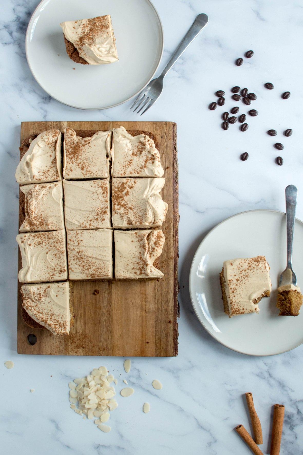 Coffee, Almond & Cinnamon Traybake Cake - Kay's Kitchen