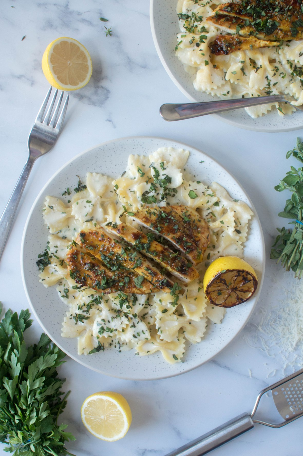 Creamy, Herby Lemon Pasta With Honey Mustard Chicken - Kay's Kitchen