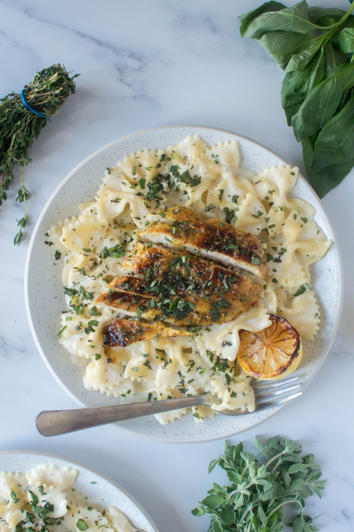 Lemon & Herb Pasta With Honey Mustard Chicken - Kay's Kitchen