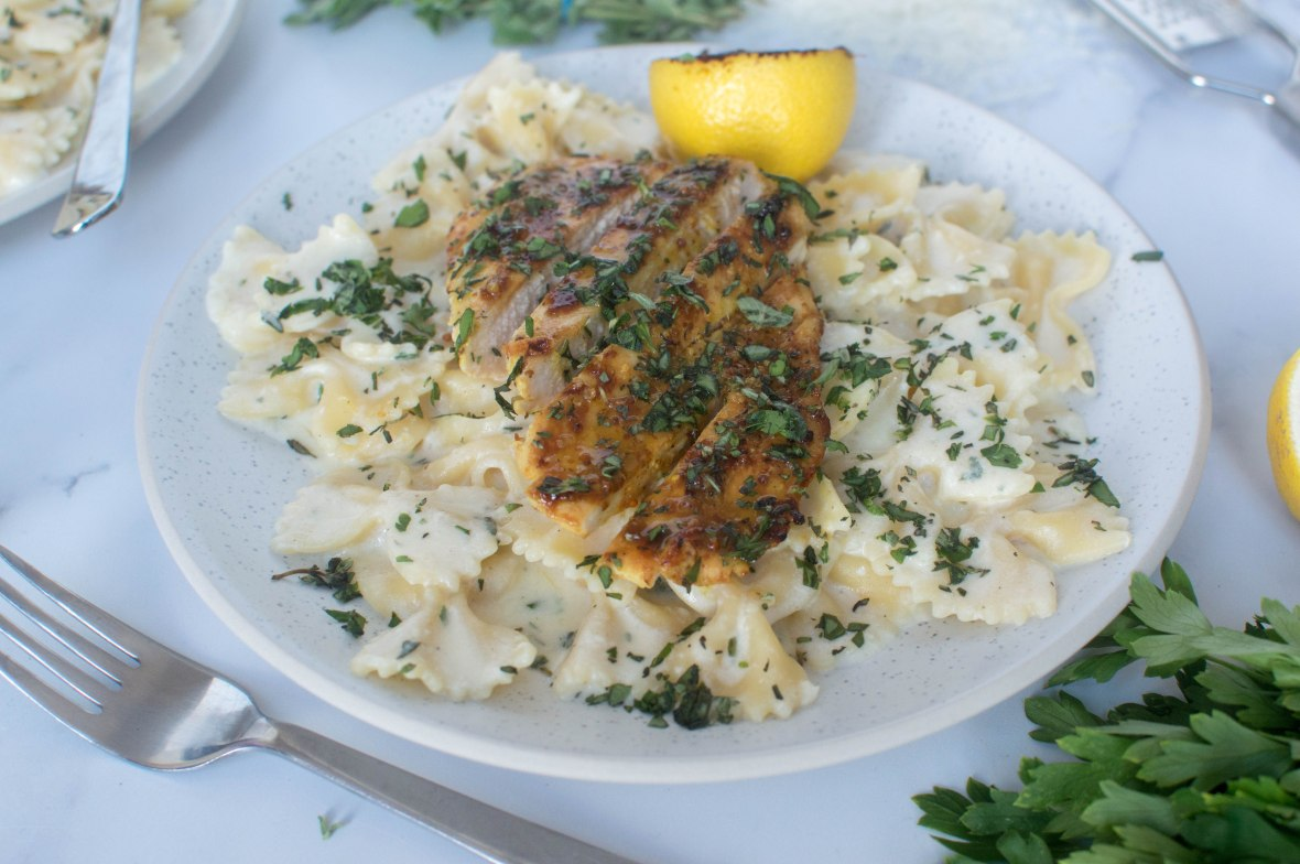 Lemony, Herby Pasta With Honey Mustard Chicken - Kay's Kitchen